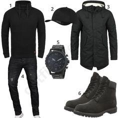 Komplett schwarzes Winteroutfit mit Blend Strickpullover, Flexfit Cap, Produkt Herren-Parka, A. Salvarini Jeans, Fossil Armbanduhr und Timberland Stiefeln.