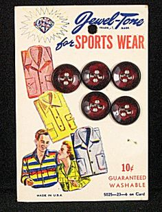 ButtonShop.ca - Vintage Sewing Jewel Tone Sports Wear Button Card
