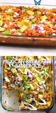 Mexican Breakfast Casserole Mexican Breakfast Casserole is an overnight breakfast casserole, packed with flavor from salty, juicy chorizo, creamy eggs, tortillas, and gooey cheese! Like your favorite breakfast burrito in one tasty make ahead recipe! Vegetarian option included too! #breakfast #breakfastcasserole<br>