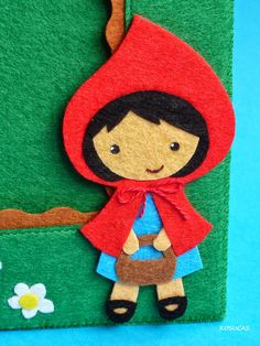 Kosucas: felt photo frames: Riding Hood, the Three Little Pigs and witch.