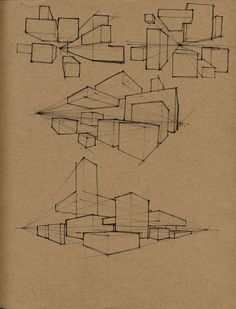 Drawing Exercises -Create environnment with cubes in perspective Architecture Concept Drawings, Architecture Sketchbook, Architecture Design, Perspective Drawing Lessons, Perspective Sketch, Point Perspective, Interior Design Sketches, Sketch Design, Drawing Exercises