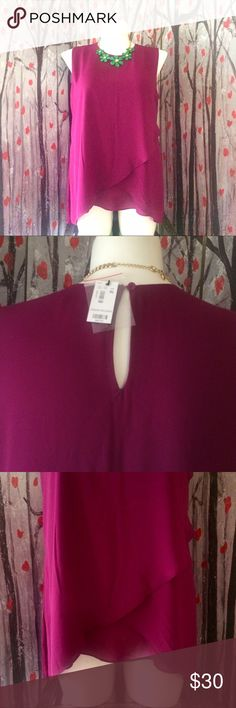 The Limited Plum Chiffon Top The color is more of a deep Plum (very pretty color) has flattering draping on the front and a Peephole button closure on the back, fully lined 100% polyester NWT The Limited Tops