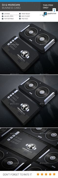 DJ & Musician Business Card Design - Corporate Business Card Template PSD. Download here: https://graphicriver.net/item/dj-musician-business-card-/16936430?s_rank=1&ref=yinkira