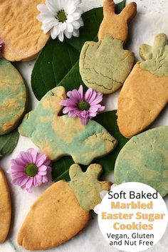 Here's a fun Easter themed recipe to make with the kids. That doesn't include chocolate. Make a batch of these marbled Easter sugar cookies. No need to decorate them once baked as the marble effect takes care of that. Gluten free, Nut Free and vegan so everyone can enjoy these cookies.