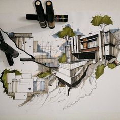 Drawing architecture axonometric 62 New ideas Architecture Graphics, Concept Architecture, Architecture Drawings, Landscape Architecture, Architecture Design, Perspective Sketch, Planer Layout, Architecture Presentation Board, Interior Sketch