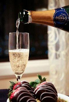 Champagne and chocolate strawberries