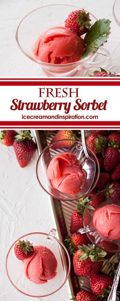 Fresh Strawberry Sorbet Recipe – Beautiful Life and Home Summer strawberries are the star of this refreshing, homemade Fresh Strawberry Sorbet Recipe. Super easy to make and dairy free! Frozen Strawberry Desserts, Frozen Fruit, Strawberry Recipes, Frozen Desserts, Fun Desserts, Strawberry Summer, Recipe For Strawberry Sorbet, Fruit Recipes, Dessert Recipes