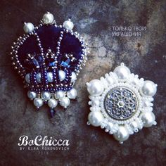 #handmade #brooch #crown #snowflake #blue #white