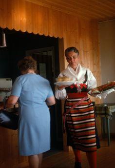 Woman in traditional dress, restaurant?, Rattvik (1968)