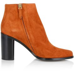 Chloé Suede Booties Sienna in brown, gold, orange, black, Boots &... (€290) ❤ liked on Polyvore featuring shoes, boots, ankle booties, suede ankle booties, brown boots, chunky heel booties, black high heel booties and brown ankle booties