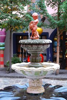 Well in the Hundertwasser house in Magdeburg - Germany Pictures Of Germany, Saxony Anhalt, Friedensreich Hundertwasser, Garden Fountains, Largest Countries, Central Europe, Wishing Well, World Of Color, Eastern Europe