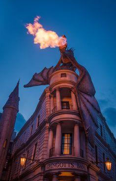 Universal Orlando Resort – tombricker Dragon Flames at Diagon Alley by Tom Bricker Estilo Harry Potter, Mundo Harry Potter, Draco Harry Potter, Theme Harry Potter, Harry Potter Tumblr, Harry Potter Pictures, Harry Potter Universal, Universal Orlando, Universal Studios