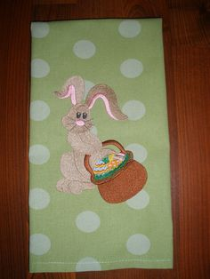Easter Embroidered Towel  Bunny with Basket by LynnsCozyQuilts, $8.99
