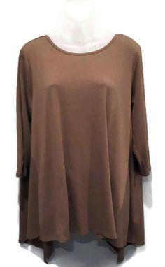 NWT Workshop Tunic Top Womens Size XL Supima Cotton Taupe Brown Asymmetric Hem #Workshop #Tunic #Casual Plaid Tunic, Denim Shirt, Cotton Linen, Taupe, Tunic Tops, Casual, Shirts, Workshop, Blouses