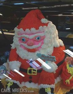 Santa looks both very drunk and constipated: