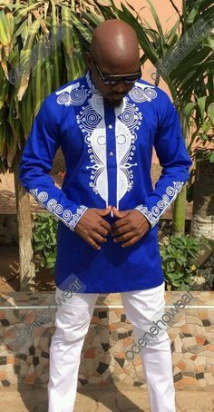 Adult Men African Blue Cotton Wear Polished Dashiki Print Long Pullover Button Shirt Attire Stand Collar Top For Men Plus Size African Fashion Designers, African Print Fashion, Africa Fashion, African Attire, African Wear, African Dress, African Outfits, African Fabric, African Shirts