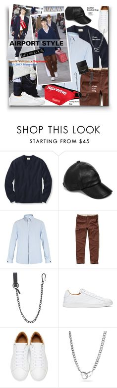 """""""Mens Airport Style - Louis Vuitton x Supreme Fall 2017"""" by watereverysunday ❤ liked on Polyvore featuring Louis Vuitton, L.L.Bean, John Varvatos * U.S.A., Valentino, Hollister Co., Dsquared2, Marc Jacobs, Bling Jewelry and Tom Ford"""