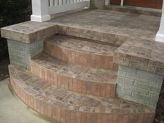 exterior tiles steps step edge tile option explore and share images Front Porch Steps, Front Stoop, Patio Steps, Front Walkway, Outside Stairs, Porch Stairs, Front Stairs, Tile Steps, Brick Steps