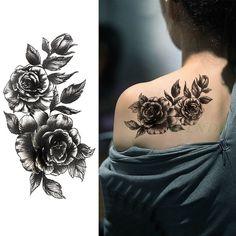 Waterproof Temporary Tattoo Sticker Rose Flower Personality Fake Tatto Sexy Flash Tatoo Hand Arm Foot Tato For Girl Women Men Great Tattoos, Trendy Tattoos, Body Art Tattoos, Tattoos For Guys, Sleave Tattoos For Women, Small Tattoos, Tatoos, Arm Tattoos Girls, Old People Tattoos