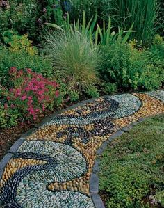 Mythical Mosaic A worn-out lawn provided the opportunity, and mythology provided the inspiration for this pebble mosaic in a Washington state garden. The mythical creature Ouroboros -- a snake or dragon that represents the cyclical nature of seasons in many cultures -- winds its way around a 12-foot ring. The imaginative design garnered Nagel an Award of Excellence in Sunset's Western Garden Design Awards program.
