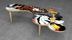 Ukiyo-e Footprint Coffee Table by Budrum Design -3D Max/Vray
