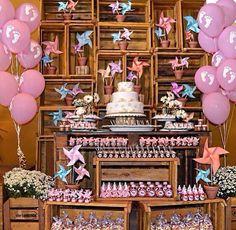 #decoração #festa #infantil #ideias #aniversario #meninas #cata-vento #rosa #delicados #rústico