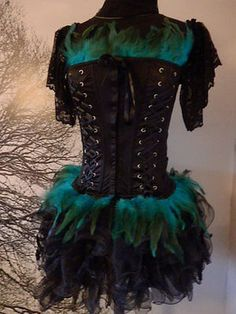 Burlesque Corset Costume Burlesque Goth Black with Jade Feathers, M