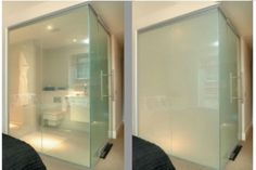 Smart glass for shower wall clear when off opaque when turned on with the flick of a switch but still let light through. Great for privacy!