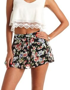 Charlotte Russe flowy floral print high-waisted shorts. Style: 301621108