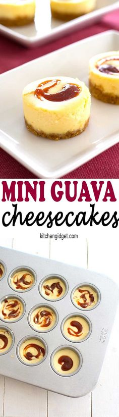 Desserts - These tropical mini guava cheesecakes taste as good as they look! Perfect dessert recipe for a Puerto Rican or Cuban dinner! Mini Desserts, Spanish Desserts, Easy Desserts, Dessert Recipes, Filipino Desserts, Guava Recipes, Cuban Recipes, Cheesecake Recipes, Sweet Recipes