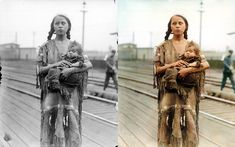 Native American woman and baby at a train station in 1930. While the world was changing around them, Native Americans struggled to hold on to their culture, identity and even their languages. This photo was colorized and shows, even more dramatically, the worn clothes of a woman raised a world apart from the one she lives in now.