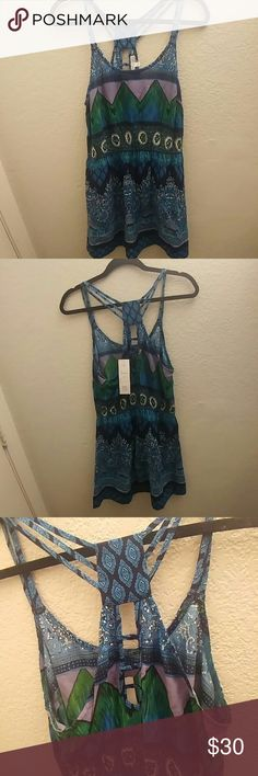 Patrons of peace dress This patrons of peace dress has never been worn! Its a size large and still has the tags attached, its blue and green with all over print and a more fitted mid section! Patrons of Peace Dresses