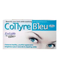 Make white eyes whiter with collyre bleu eye drops. Brightens any eyecolor. Used by European makeup artists, now available in the US. Reformulated and now safe to use with contact lenses. .02 oz. per vial