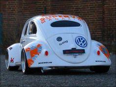 white slammed vw beetle