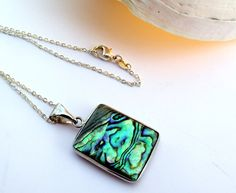 Abalone shell necklace on silver chain Natural by EvasJewellery, €9.00