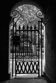 College of Charleston Gate View in Sepia - Benjamin Padgett College Of Charleston, Charleston South Carolina, Charleston Sc, Wrought Iron Decor, Wrought Iron Gates, Garden Gates And Fencing, Fences, Las Vegas, Charleston Gardens