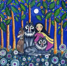 Wolf art print girl and wolves