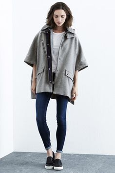 Winter Warmers | Grey Contrast Hooded Cape | Warehouse