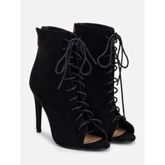 Justfab Booties Ruthi (53 CAD) ❤ liked on Polyvore featuring shoes, boots, ankle booties, ankle boot, black, black ankle booties, black high heel booties, ankle boots, peep toe booties and lace up booties