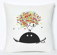 Funky character multicoloured cushion