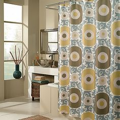 M. Style Ottoman Blossom 72-Inch x 72-Inch Fabric Shower Curtain in Gold