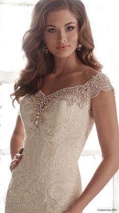 christina wu wedding dresses 2015 beaded cap sleeves v neckline elegant embroidered mermaid wedding dress 15582.close up