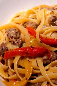 Aesthetic Nest: Cooking: Fettuccine with Sausage, Mushrooms, Peppers, Onion and Fennel