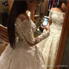 Ball Gown 2015 Lace Wedding Dresses Ruffles Beaded Appliques Beading Long Sleeves Wedding Dress Puffy Handmade Luxury Vintage Bridal Gowns Online with $282.66/Piece on Xzy1984316's Store | DHgate.com