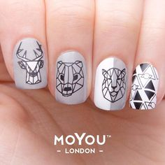 Our favourite furry friends get the geometric treatment! Are you going to give our latest MYL mani a go? #myl #moyoulondon #geometricnails #lowpoly #notd #stampingnailart #nailart #notd