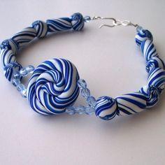Beaded Bracelet Blue and White Swirls   kathisewnsew - Jewelry on ArtFire