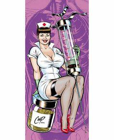 Nurse - Art by Chris Cooper 4 Goddesses Online, Pop Art, Rockabilly Fashion, Rockabilly Style, Sexy Nurse, Skateboard Design, Lowbrow Art, Psychobilly, Pin Up Art