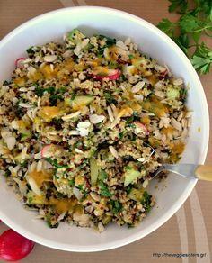 Αρωματική σαλάτα με κινόα, λαχανικά κ σκορδάτη σάλτσα μουστάρδας  Aromatic quinoa salad with garlicky mustard sauce