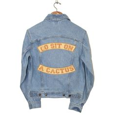 GO SIT ON A CACTUS JACKET Understated Leather (570 BRL) ❤ liked on Polyvore featuring outerwear, jackets, tops, denim jacket, denim jackets, jean jacket, blue denim jacket, blue jean jacket and letter jacket