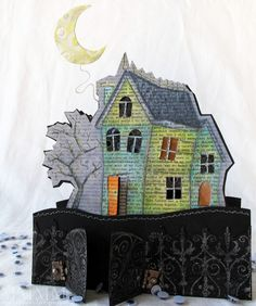Mel Stampz: Turn a solid image into an outline image with a shadow - H.A. Haunted House